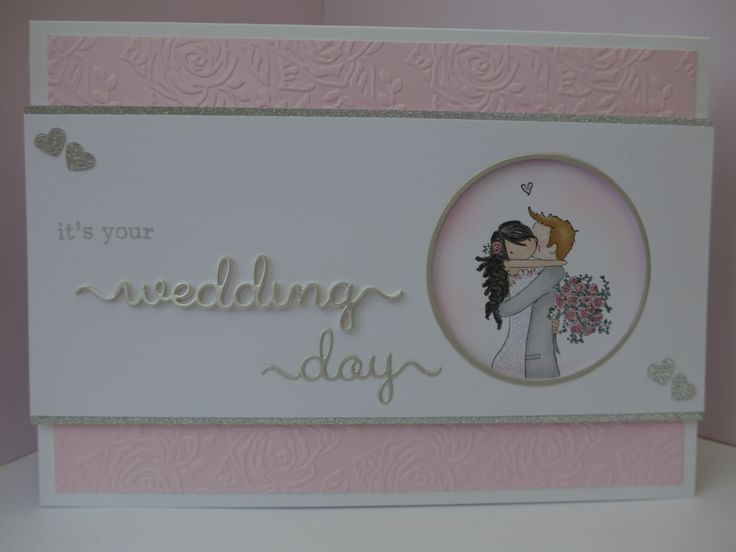 Wedding card made using Stamping Bella - Brett and Brenda get married stamp.