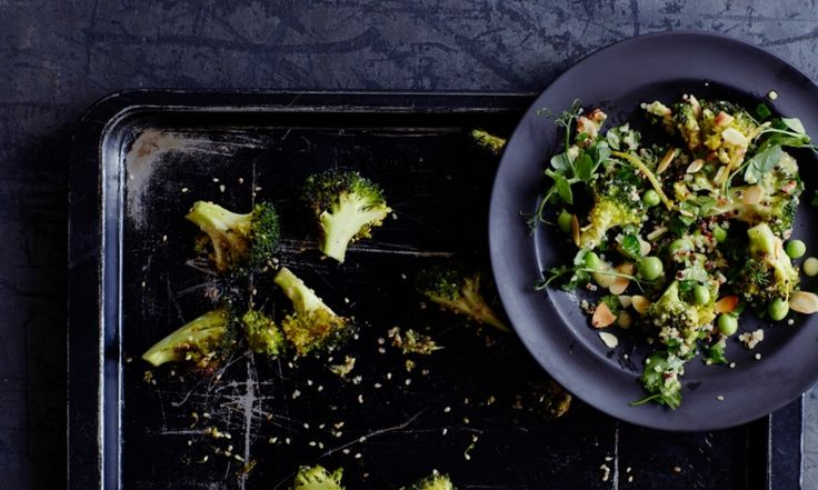 roast broccoli sprinkled with sesame seeds