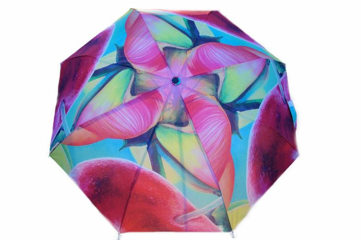 """Artbrella """"Red Cherry"""" displays a Dutch floral oil painting. Painting title: """"Cherry Lane"""" (sold). Check out the matching Artcessories: Artbag, Silk scarf, Purse, Purse hanger."""