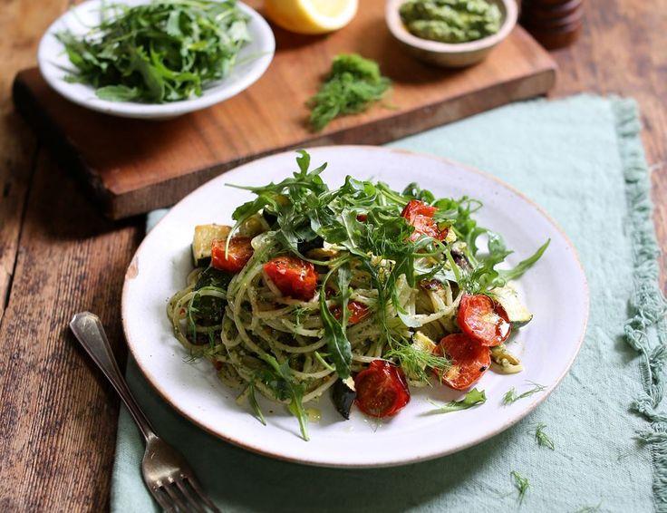 Zesty Cashew Pesto Spaghetti with Roasted Vegetables