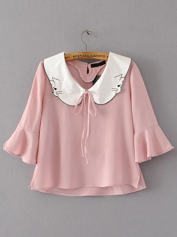 Shop Contrast Collar Bell Sleeve Blouse With Tie Detail online. SheIn offers Contrast Collar Bell Sleeve Blouse With Tie Detail & more to fit your fashionable needs.