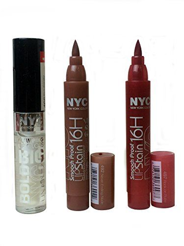 NYC New York Color Smooch Proof 16H LipStain  Bold Plumping Lip Gloss 3 Pack COMBO *** Check out the image by visiting the link.Note:It is affiliate link to Amazon.