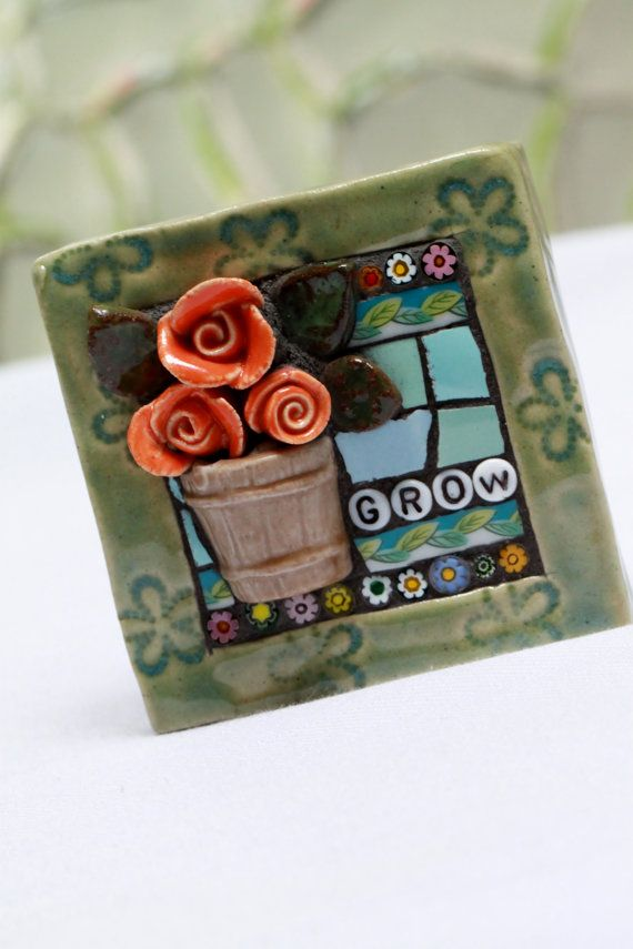 glass tile bathroom pictures grow mosaic mixed media garden by lisabetzmosaicart on 18496