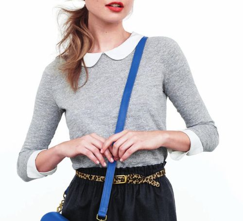 i absolutely need this look! j.crew: Leopards Belts, Crew Neck Sweaters, J Crew September, Collared Shirts, Clothing N Sho, Style Guide, Jcrew Peter Pan Collars, September 2012, Collars Shirts