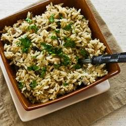 Crock Pot Rice with Dried Mushrooms, Herbs and Parmesan