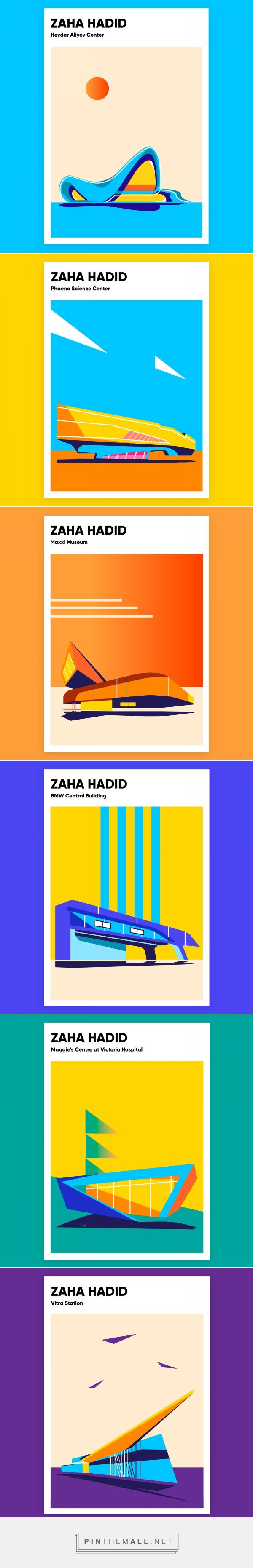 Series of posters about Zaha Hadid buildings on Behance... - a grouped images picture - Pin Them All