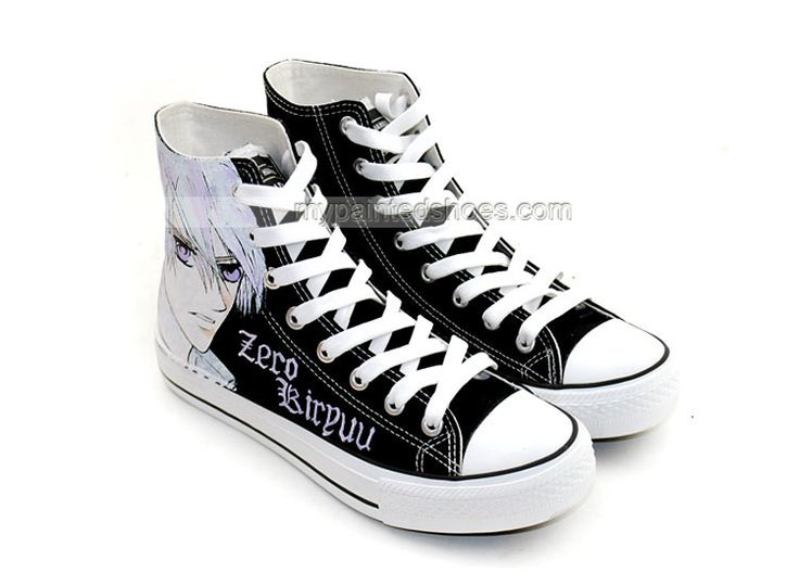 Anime Shoes Vampire Knight Zero Kiryu Painted Canvas Shoes,High-top Painted  Canvas Shoes