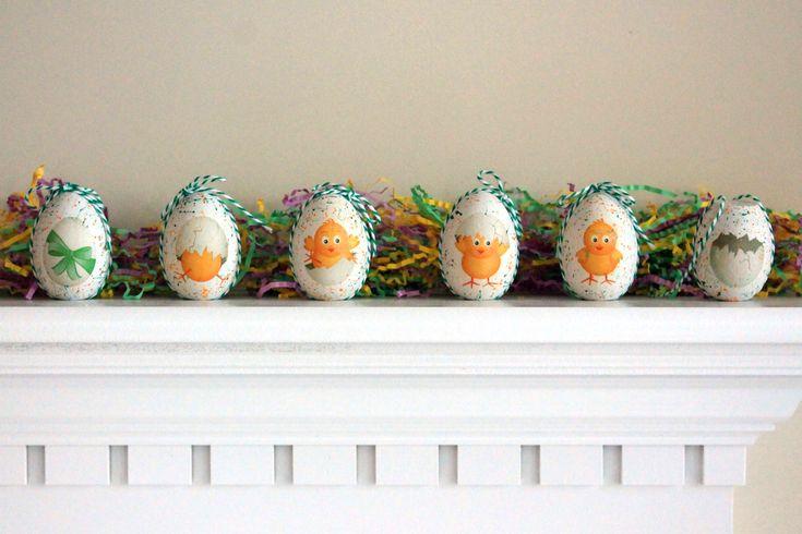 Πασχαλινα αυγουλακια στη σειρα, με decoupage
