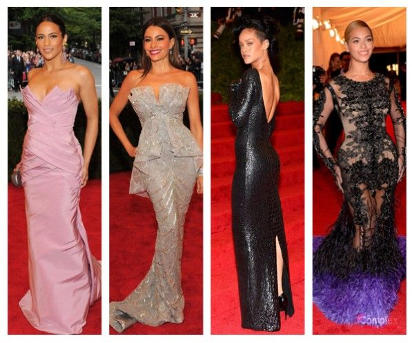 Paula Patton, Sofia Vegera, Rihanna, and Beyoncé at MET Gala 2012 // #fashion