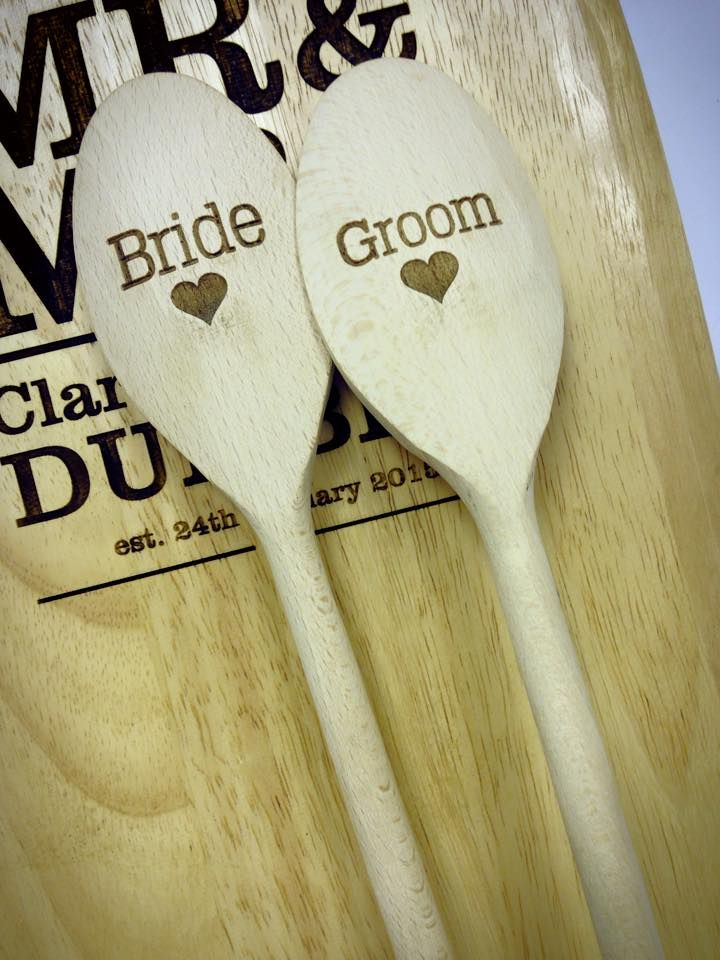 Bride and Groom spoons Laser etched from wooden spoons Laser cutting, Laser etching, Design by Laser