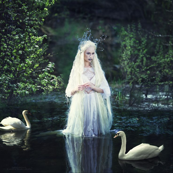 Photograph - Elf by Margarita Kareva, lady with swans in lake, goddess, witchcraft, animal spirits