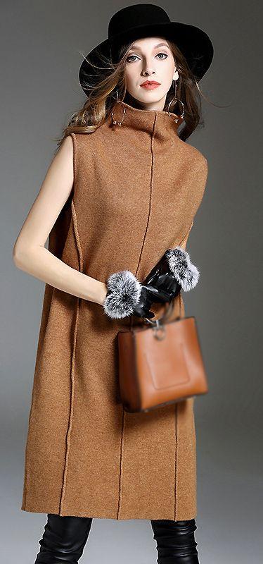 Brief High Neck Sleeveless Knitted Dress