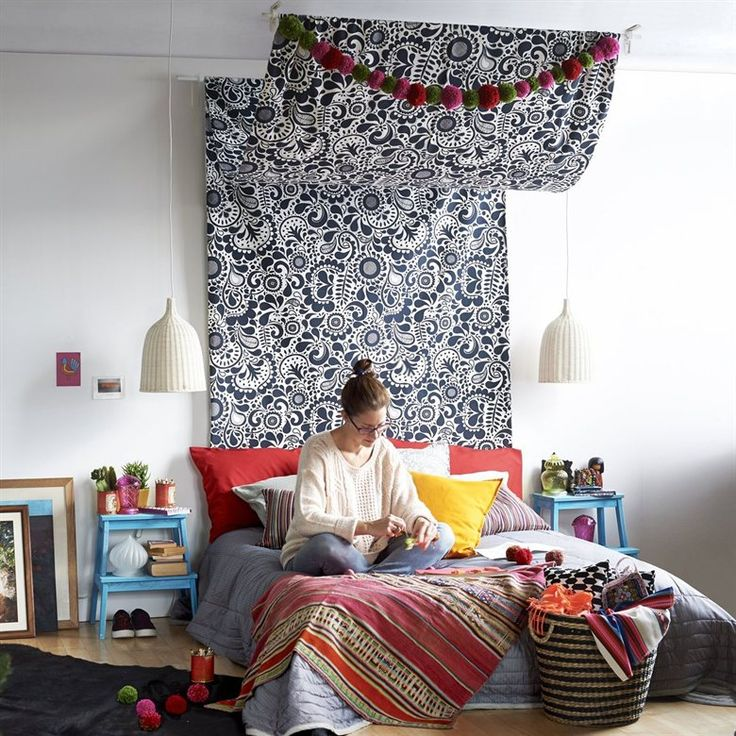 Make your own travel-inspired bed canopy from IKEA fabric | Stylist Sam Grigg talks us through how to do it in the August issue of live magazine | Bedroom #MIY ideas