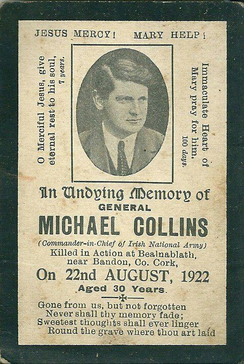 In high school I did a report on Michael Collins.  It was one of the first papers I actually had a deep interest in researching and writing.  Michael Collins was a hero, a brilliant example and a revolutionary leader to all the Irish.