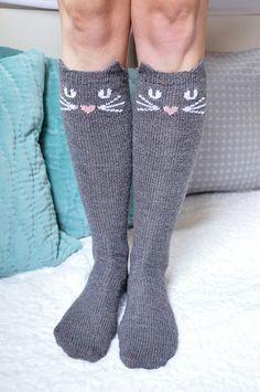 "Ravelry: ""Check Meowt!"" Cat, Owl, and Panda Knee High Socks pattern by Lauren Riker"