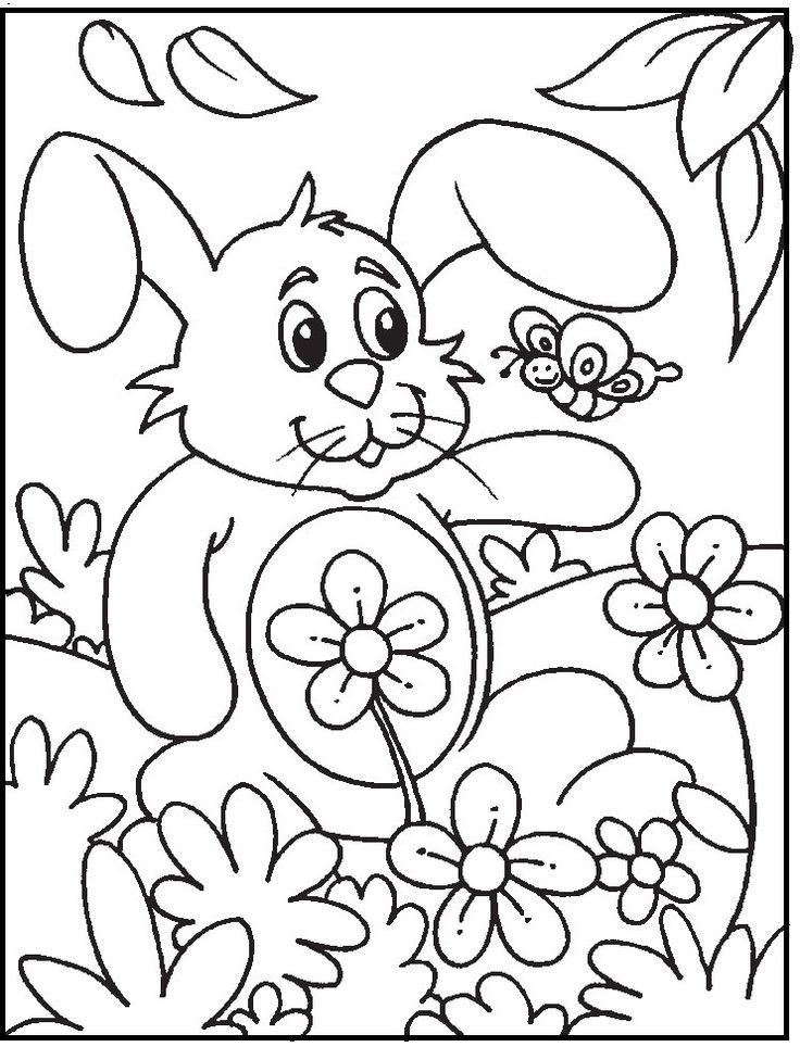 Cute Rabbit And Butterfly On Park coloring picture for