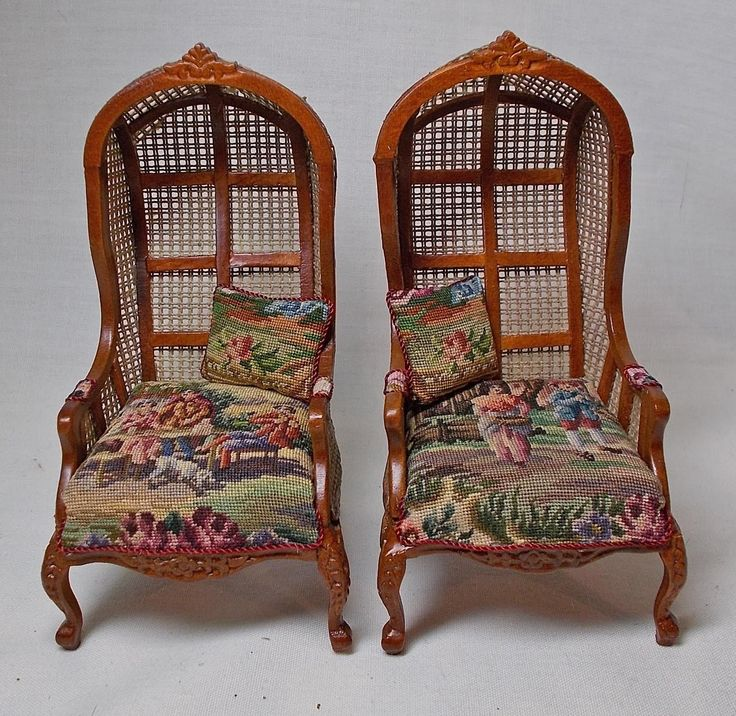 miniature doll furniture. dollhouse miniature pair of canvas hooded canopy chairs with antique petit point doll furniture h