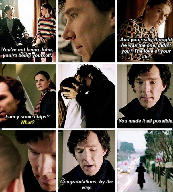 Sherlock's last face. So sad :(( he's trying to be happy for Molly's engagement, but you can see he's really sad. Sherlolly all the way.