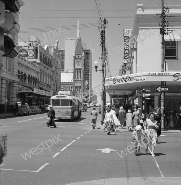 Image available to purchase at westpix.com.au. IMAGE TAKEN NOV 1960) PICTURE OF THE INTERSECTION OF BARRACK STREET AND MURRAY STREET IN PERTH CITY IN NOVEMBER 1960
