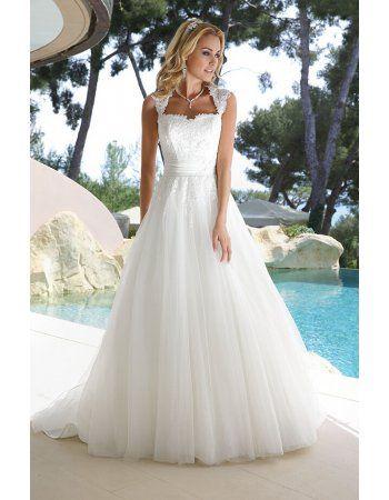 Cap Sleeve Long A-line Tulle Beach Wedding Dress