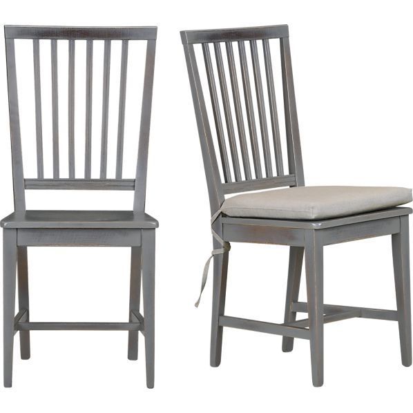Village Grigio Side Chair and Natural Cushion in Dining Chairs | Crate and Barrel