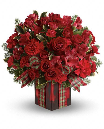 Season's Surprise Bouquet by Teleflora - #Christmas #flowers in  a red cube vase.