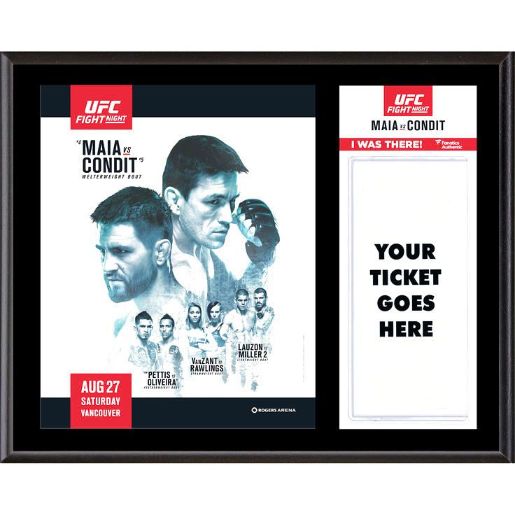 """Fanatics Authentic UFC Fight Demian Maia vs. Carlos Condit Dueling """"I Was There"""" 12"""" x 15"""" Sublimated Plaque - $31.99"""