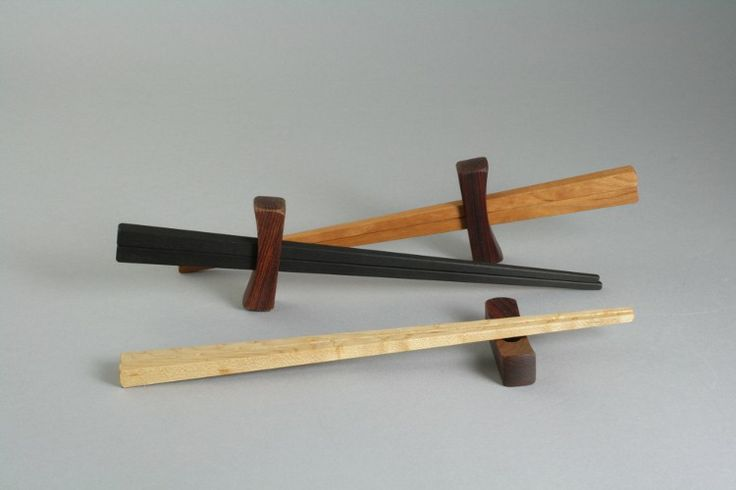 Davin & Kesler chopsticks in cherry, maple, and ebony with cocobolo rest
