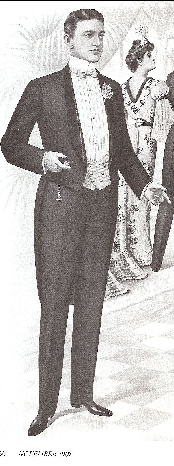 1870's tuxedo; evening suit with a sack jacket.