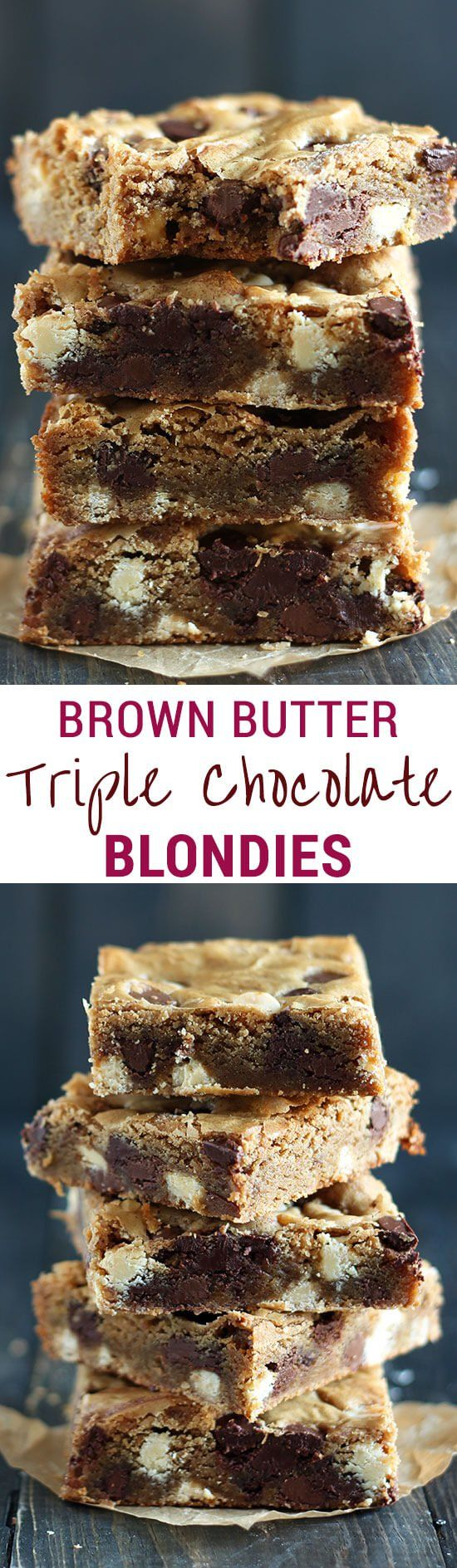 Brown Butter Triple Chocolate Blondies are outrageously chewy with tons of nutty butterscotch flavor and three kinds of chocolate! The best blondies ever!