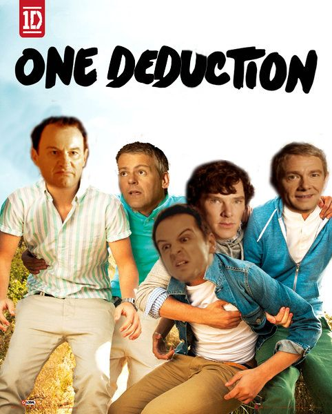 Mycroft is thoroughly disgusted over having to set his cake down to take a picture, Sherlock is copping a feel, Moriarty likes it, John smiles awkwardly for the camera because Jim is resting his elbow on his crotch, and Lestrade looks like he just discovered his division in Mycroft's eyes.
