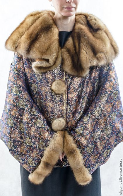 Верхняя одежда ручной работы. Куртка с меховым воротником. Необходимые вещи (olgaMot). Ярмарка Мастеров. Бохо, Пальто больших размеров