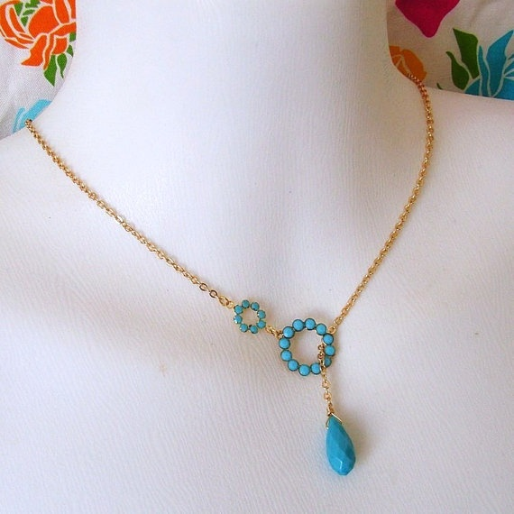 Turquoise Rhinestone Lariat Necklace by divinerose on Etsy, $29.00