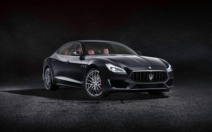 Descargar fondos de pantalla 4k, Maserati Quattroporte GTS GranSport de 2017, coches, autos italianos, negro Quattroporte, Maserati