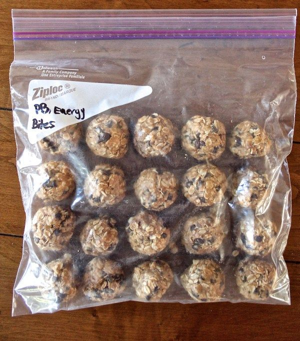 4-Ingredient Peanut Butter Energy Bites1 3/4 cup oats (old-fashioned or quick cooking) 3/4 cup all-natural peanut butter (If your natural peanut butter has been refrigerated and is thick, try popping the measuring cup of peanut butter in the microwave for 10-15 seconds) 1/3 cup honey (or slightly more if needed to bind mixture together) 1/3 cup semisweet or dark chocolate chips (I used mini) Optional: 1/4 cup wheat bran, hemp seeds, flax seeds, or chia seeds (I used hemp seeds)