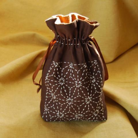 Asa-no-ha design sashiko stitched drawstring bag
