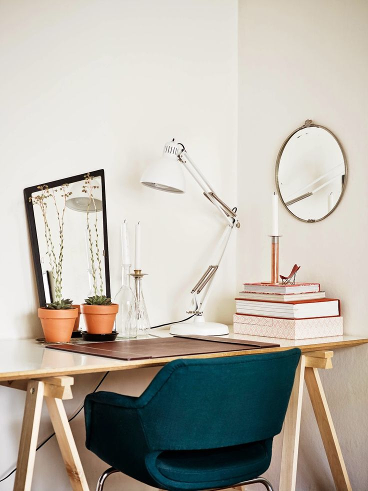 Work space in a Gothenburg apartment via My Scandinavian Home blog.