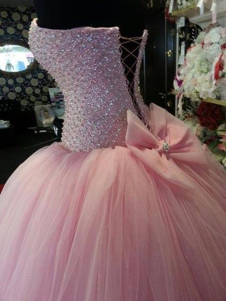 Dress: prom dress, pink dress, princess dress, ball gown, pink, glitter, prom, long prom dress, rose, blush, baby pink, miu miu, bikini, beach, swimwear, sparkles, bows, poofy, pink, lace up, sparkly, pink sparkly dress - Wheretoget