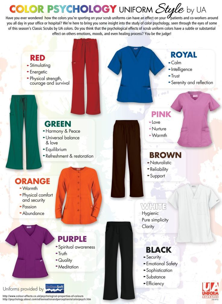 People are affected by different colors and it varies from person to person. The style of clothing and colors can boost your mood because it can add tremendous value to your life! Colors can be expressive, emotional, influential and therapeutic. #infographic #scrubs