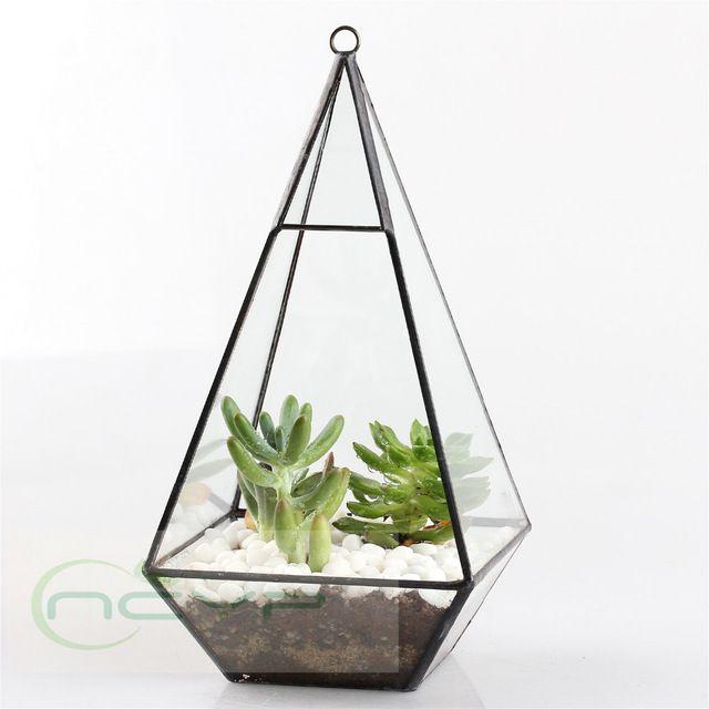 Бонсай, террариум для растений суккулентов, цветочный горшок, стеклянная пирамида. Бесплатная доставка.