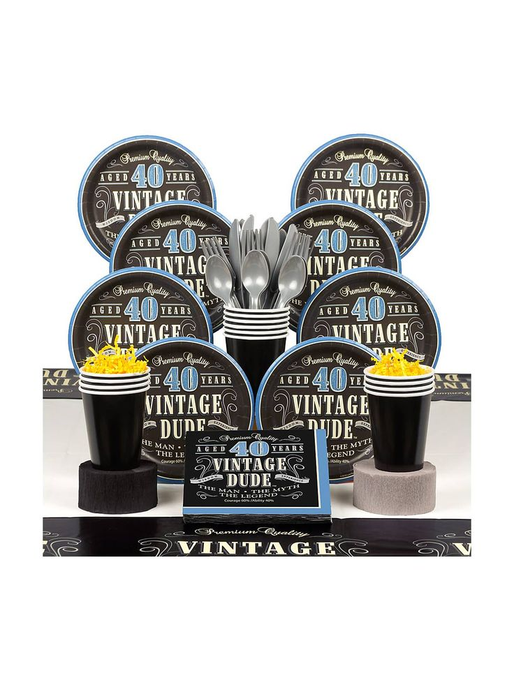 Vintage Dude 40th Deluxe Tableware Kit - Decoration Kits and Party Supplies