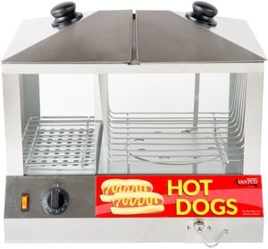 An excellent addition to snack bars, stadiums, vending carts, and many other foodservice operations, this Avantco HDS-100 hot dog steamer effectively holds pre-cooked hot dogs and merchandises product to capitalize on hungry patrons and boost impulse sales! The unit's spacious design steams and holds up to 100 hot dogs and 48 buns so you have a ready supply throughout the day, while easily adjustable temperature and humidity controls ensure the dogs stay plump and juicy and the buns stay…