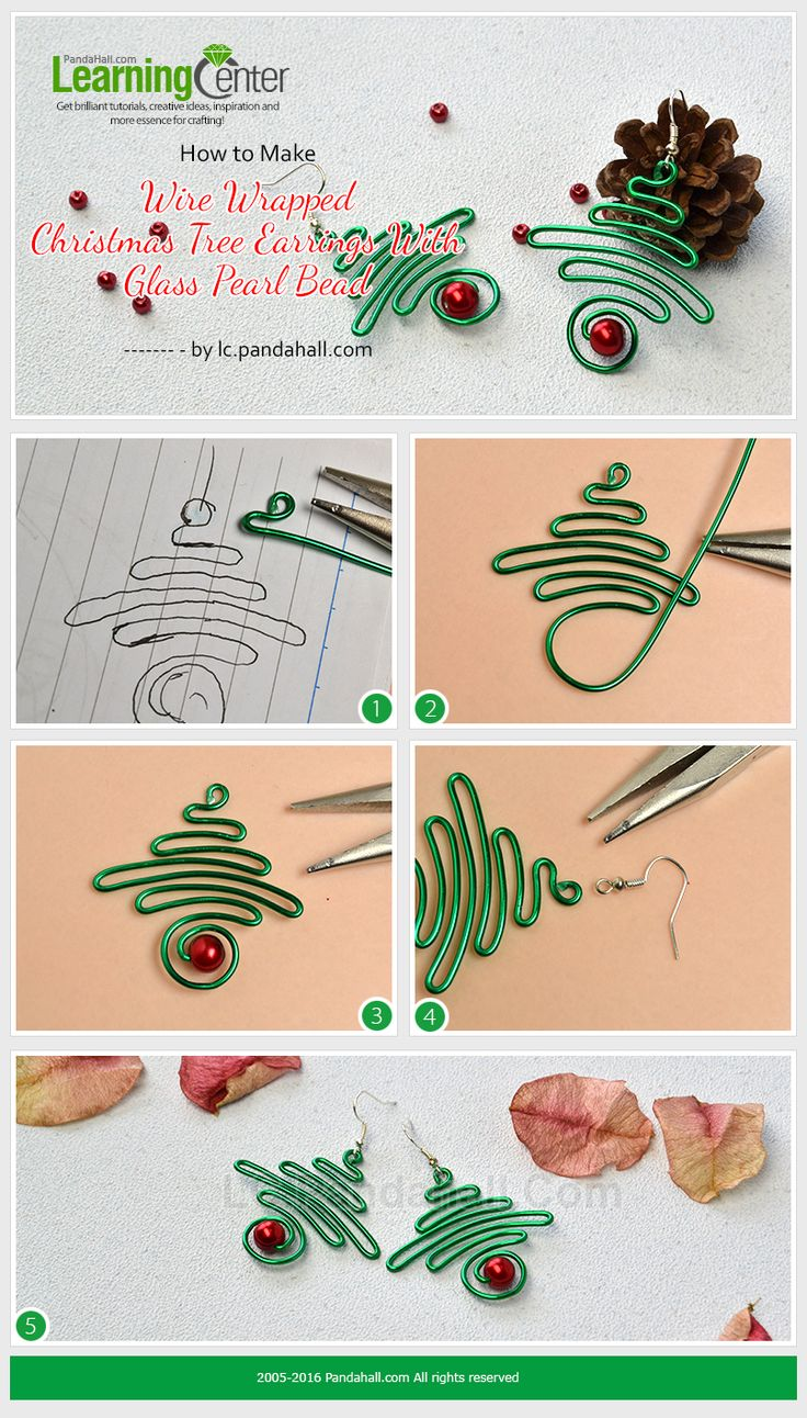How to Make Wire Wrapped Christmas Tree Earrings With Glass Pearl Bead from LC.Pandahall.com
