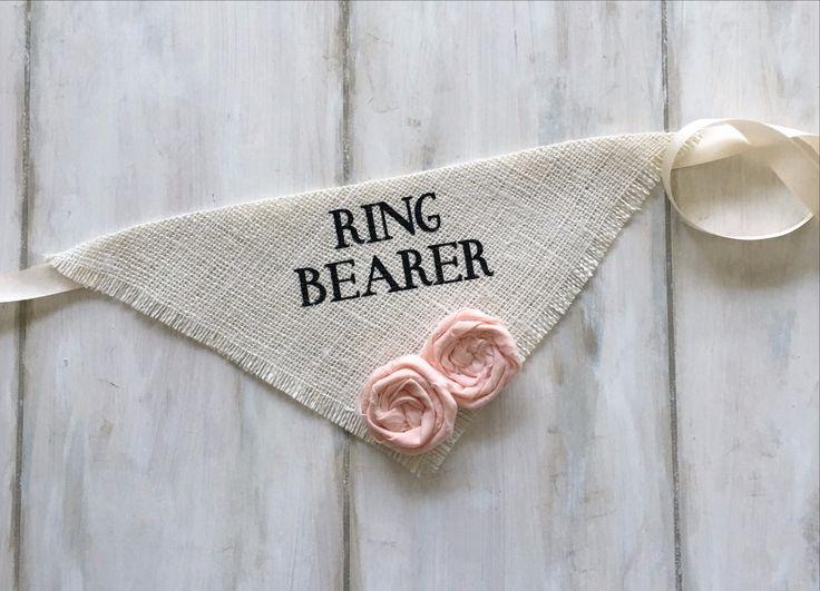 Ring Bearer – Ivory Wedding Dog Bandana with Flowers