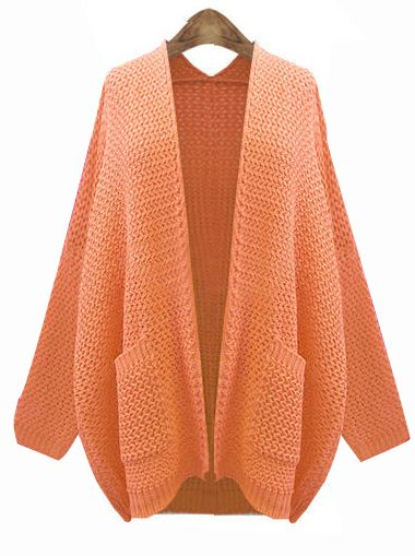 Orange Long Sleeve Pockets Cardigan Kint Sweater - Sheinside.com