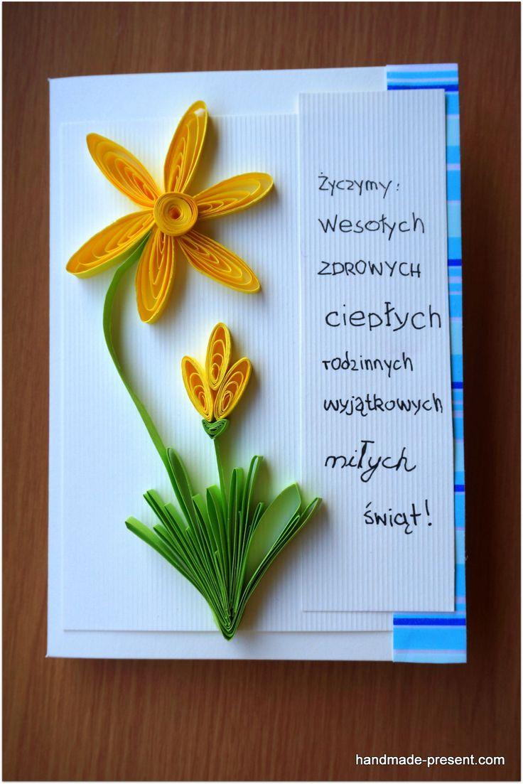 kartka wielkanocna z żonkilami / easter card with daffodils