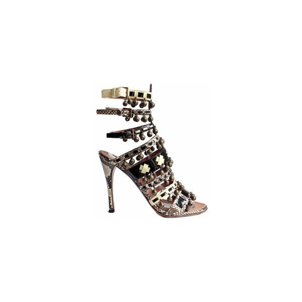 Alaia Black Ivory Strappy Python Bell Stiletto Sandals as seen on Kim... ❤ liked on Polyvore featuring shoes, sandals, black strappy shoes, heels stilettos, strap sandals, stiletto sandals and strappy stiletto sandals