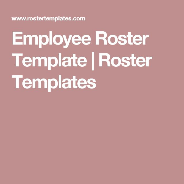 Employee Roster Template | Roster Templates | Files | Pinterest ...
