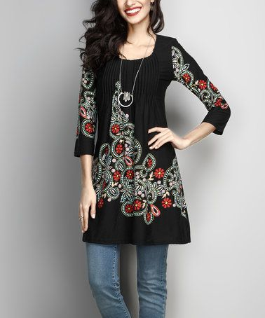 This Black Floral Pin-Tuck Empire-Waist Tunic by Reborn Collection is perfect! #zulilyfinds