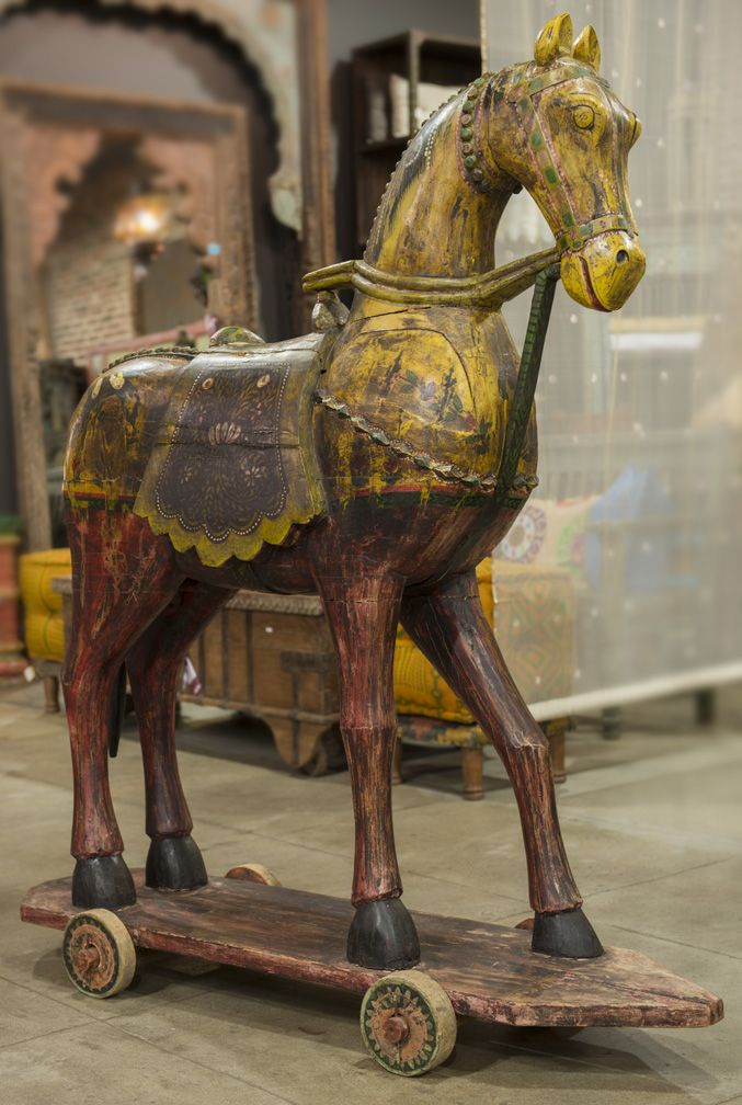 YEAR OF THE HORSE!!! Festive Wooden Horse | De•Cor - 19th Century carved wooden horse with polychrome paint finish and painted details. Originally used as decorative sculptures in ceremonies and festivals by tribes from Rajasthan.